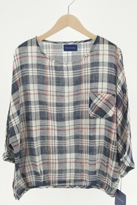 Late Summer Early Autumn Dyeing Checkered Pocket Gather Blouse
