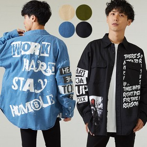 A/W Men's Decoration Patch Print Long Sleeve Big Shirt