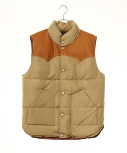 A/W Men's Leather Switching Padding Vest