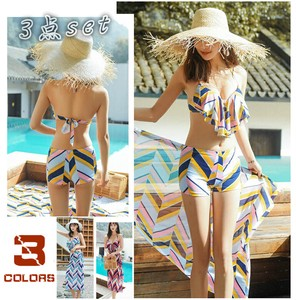 Body Type Cover Attached 3-unit Set Bikini Swimwear Tankini Geometry Sexy Wire