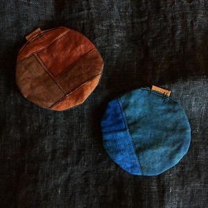 Persimmon -Dyed Dyeing Linen Round shape Return Plump Coaster
