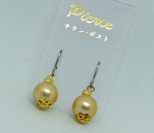 Pearl Gold Design Pierced Earring