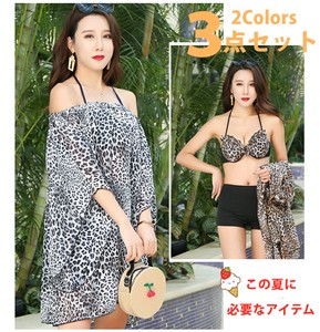 Swimwear Bikini Body Type Cover 3-unit Set Leopard Sugar UV Cut Sunburn Prevention Wire