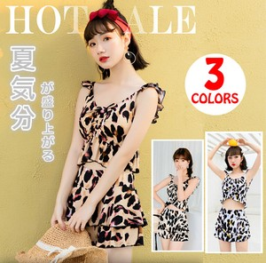 Ladies Swimwear 2 Pcs Set Body Type Cover Leopard Leopard Bikini Skirt Pad