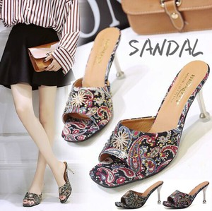 Ladies Sandal Open Toe Enamel High Heel Floral Pattern High Heel Mule