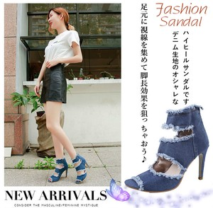 Ladies Denim Sandal Open Toe 10cm High Heel Pumps Beautiful Legs Effect Bag Fastener