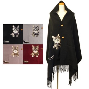 Stole Button Pocket Cat Embroidery Poncho Stole