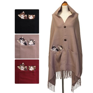 Limited edition Stole 20 Button Pocket Kitten Embroidery Poncho Stole