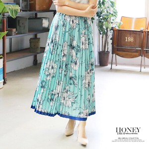 A/W Floral Pattern Color Scheme Pleats Skirt