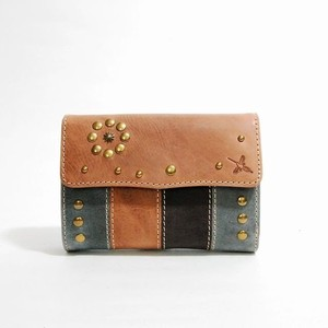 Genuine Leather Studs Attached Multi-Color Wallet