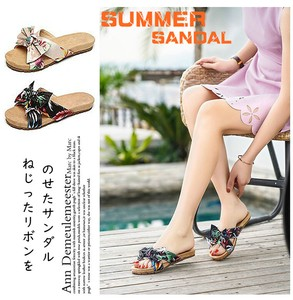 Ladies Flip Flop Floral Pattern Larger Ribbon Attached Flat Shoes Slip Wide
