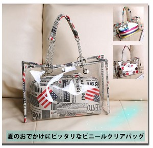 9118ec13452 Ladies Clear Tote Bag Vinyl Pouch Attached Transparency Large capacity  Waterproof Storage