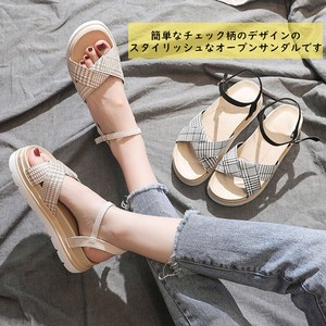 Ladies Sandal Wedge Sole Checkered Open Toe Strap Mule