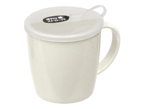 Straw Nursing care Attached Mug White