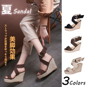 Ladies Sandal Lean Strap Rhinestone Wedge Sole