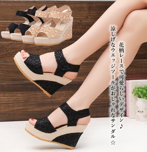 Ladies Sandal Lace Floral Pattern Switching Wedge Sole Strap Open Toe