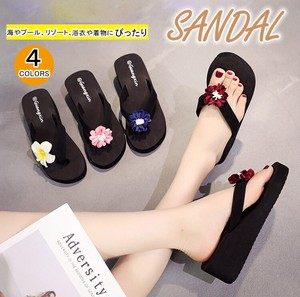 Ladies Slipper Two Way Wedge Sole Flip Flop Flower Japanese Sandals Slip