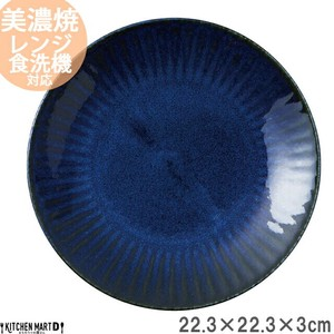 Petit Plate Plate Navy Indigo Round shape Plate Platter Curry Plate