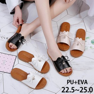 Ribbon Bijou Leather Sandal Flat Wrap 3 Colors