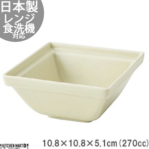 Frame Plain Wood Square Bowl Cream Beige Mino Ware