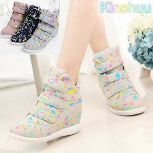 Ladies Shoe Heel High-top Sneaker pen Paint