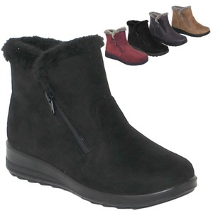 Boots Fur Attached Suede Light-Weight Short Boots Flat