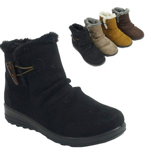 Boots Fur Attached Toggle Button Suede Light-Weight Short Boots Flat