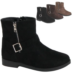 Boots Buckle Attached Suede Work Boots Mid-calf Boots