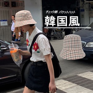 Ladies Korea BUCKET HAT Checkered Uv Countermeasure Effect UV Cut Folded