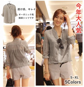 Ladies Cotton Shirt Feeling Three-Quarter Length Blouse Soft Sheer Leisurely UV Cut