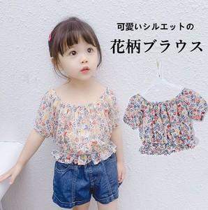 f705a68d9fca7 2019夏 韓国風 女の子 子供服 可愛いキッズ 半袖シフォンブラウス 可愛い 花柄 フリル