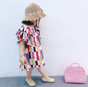 Kids Girl Short Sleeve One-piece Dress Line Knee-high Switch Stripe