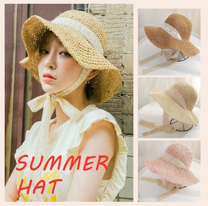 Ladies Straw Hat Broad-brimmed UV Cut Lace Attached Ribbon Effect