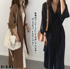 S/S Spring Long Coat Plain Shirt One-piece Dress Long Sleeve Body Type Cover Lean