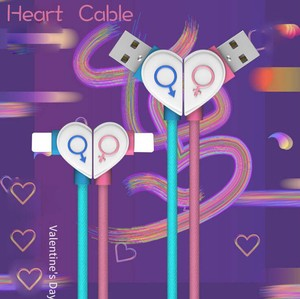 Smartphone Cable iPhone type Cable USB iPhone Heart Couple
