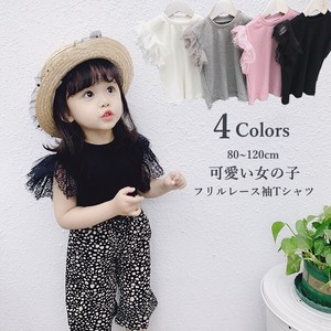 Korea Girl Children's Clothing Frill French Lace T-shirt Plain