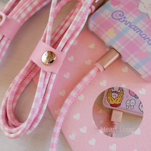 Pink Checkered Smartphone Cable Heart Length