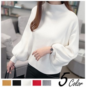 2018 Spring A/W Ladies Knitted Sweater Top Balloon High Neck Leisurely