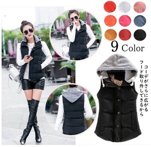 Ladies Down Vest With Hood Removal Padding 9 Colors Sleeveless Jacket