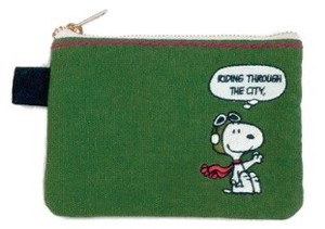 Snoopy Color Tissue Pouch Green