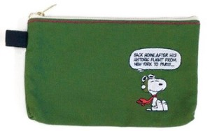 Snoopy Color Flat Pouch Green