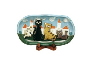 Fairy tale Cat Family Wooden Plate
