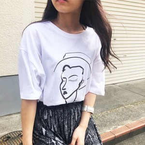 Face Art Print T-shirt Art T-shirt Short Sleeve Top A/W