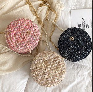 Pearl Casual Chain Coin Purse Handbag Round shape