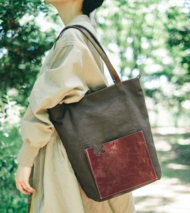 Puzzle Tote Bag Genuine Leather Canvas