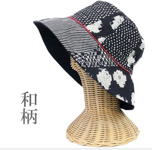 Japanese Pattern Hats & Cap Piping Black-And-White Dyeing Fabric