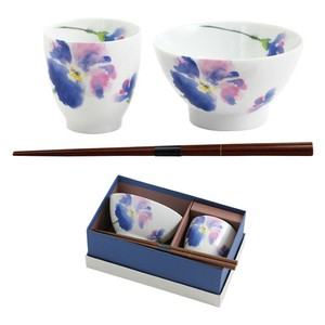 Porcelain Gift Flower Rice Bowl Japanese Tea Cup Pansy