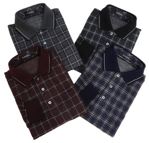 Men's Grid Pattern A/W Cut And Sewn Grid Pattern Long Sleeve Polo Shirt