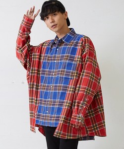 A/W Men's Super Big Silhouette Long Sleeve Switching Checkered Shirt