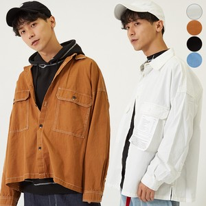 A/W Men's Color Scheme Big Pocket Long Sleeve Wide Shirt